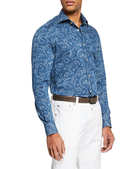 Image 1 of 2: Kiton Men's Chambray Paisley Sport Shirt
