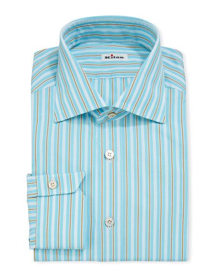 Kiton Men's Long-Sleeve Multi-Stripe Dress Shirt