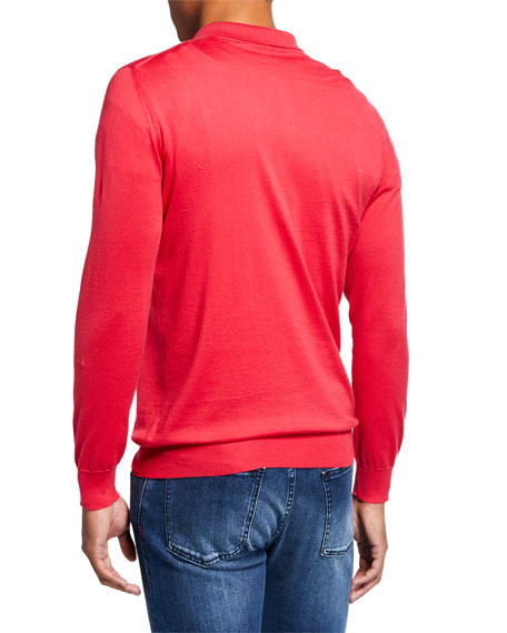 Kiton Men's Berry Long-Sleeve Zip Polo Shirt