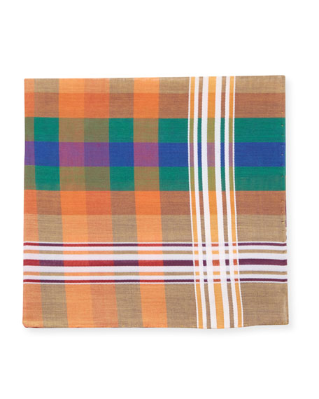 Simonnot Godard Men's Madras Check Handkerchief