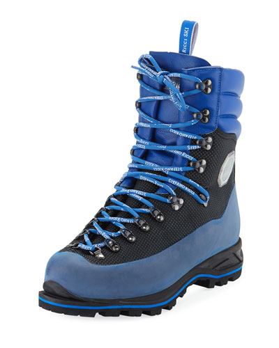 Men's Leather Mountain Hiking Boots  Blue