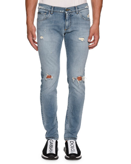 Dolce & Gabbana Men's Slightly Distressed Jeans