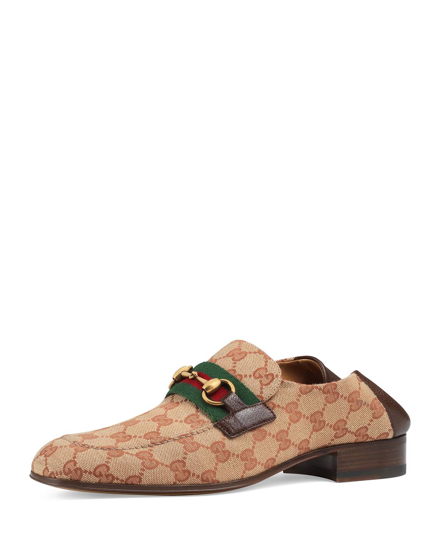 08e16294bc6 Gucci Men s GG Canvas Horsebit Fold-Down Loafers