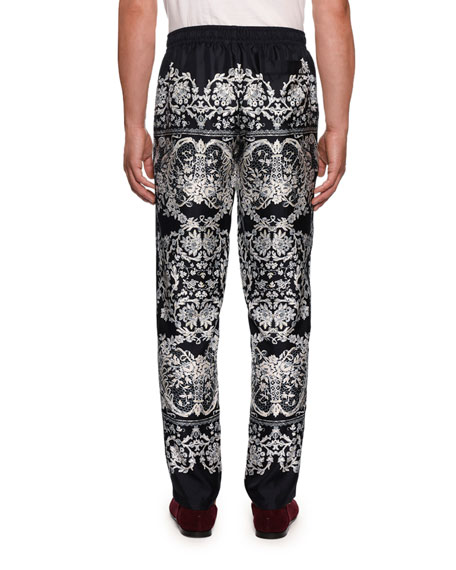 Image 2 of 2: Dolce & Gabbana Men's Lace Print Silk Pajama Pants