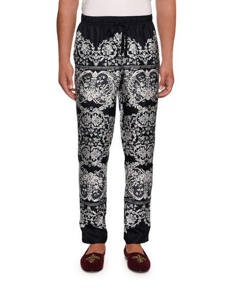 Image 1 of 2: Dolce & Gabbana Men's Lace Print Silk Pajama Pants