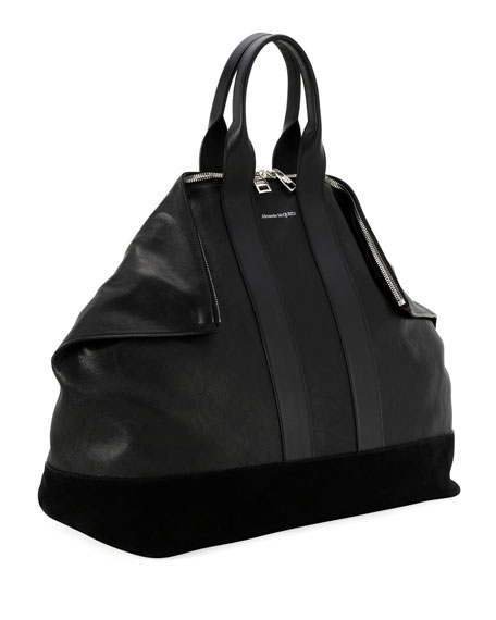 Alexander McQueen Men's De Manta Leather Tote Bag