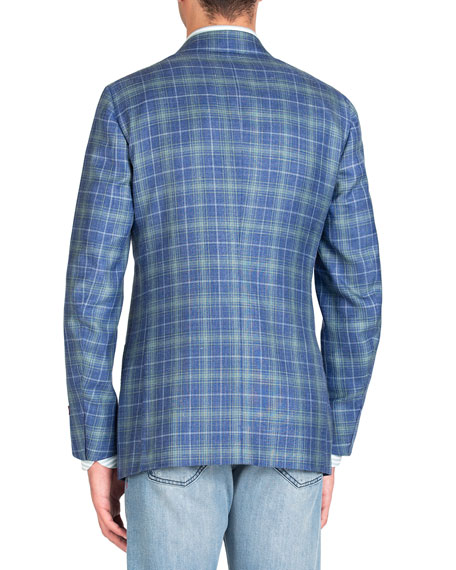 Isaia Men's Two-Tone Plaid Two-Button Jacket