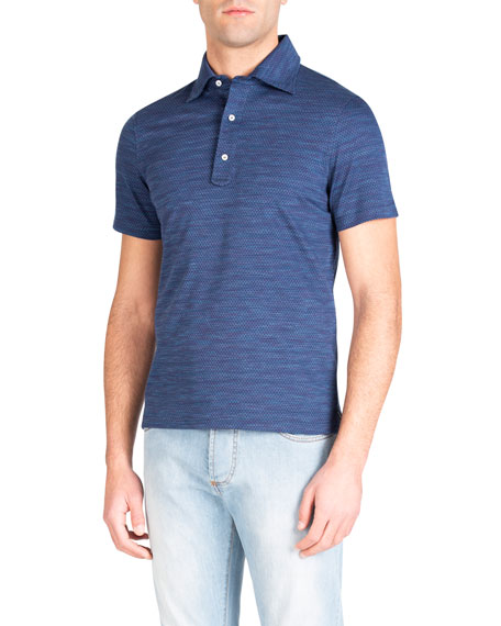 Isaia Men's Parquet Check Polo Shirt