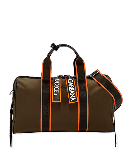 Dolce & Gabbana Travel Men's Chain Canvas Travel Bag