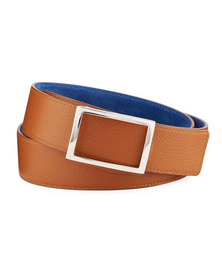 SIMONNOT GODARD Men'S Reversible Grained Nubuck Leather Belt in Black