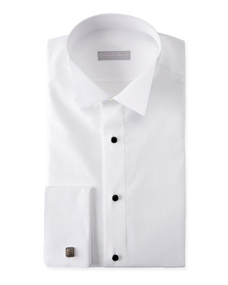 Image 1 of 2: Stefano Ricci Men's Cotton French-Cuff Tuxedo Shirt