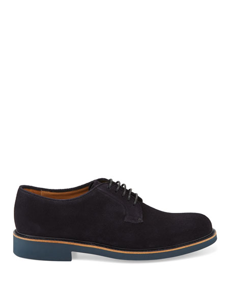 Giorgio Armani Men's Suede Low-Top Derby Shoe, Navy