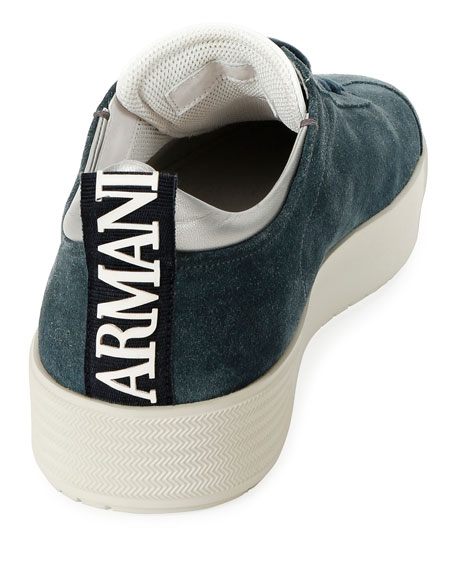 Giorgio Armani Men's Suede Low-Top Sneakers, Blue