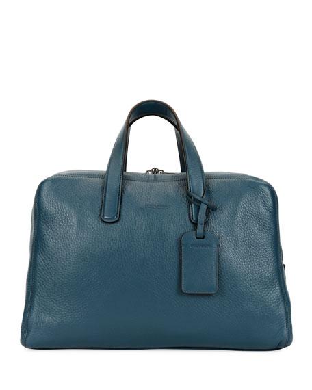 Giorgio Armani Men's Deer Leather Carryall Duffel Bag, Blue