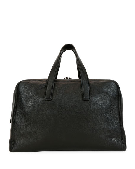 Giorgio Armani Men's Deer Leather Carryall Duffel Bag, Black