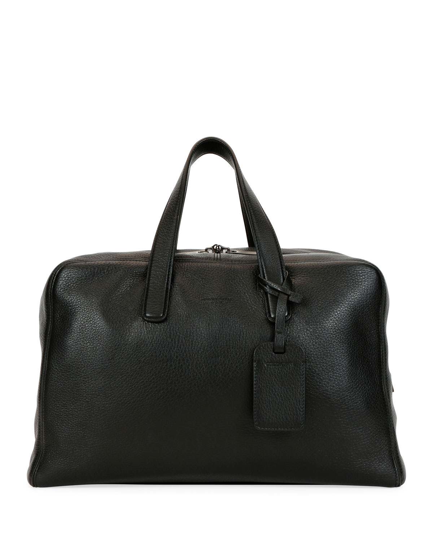 c9c48311e1 Men's Deer Leather Carryall Duffel Bag, Black