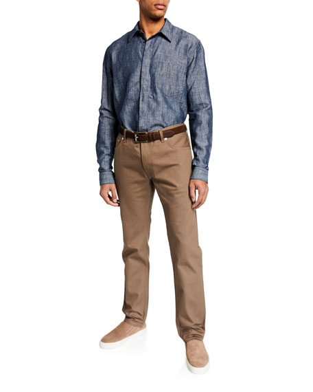 Berluti Men's Leather Selvedge Denim Jeans