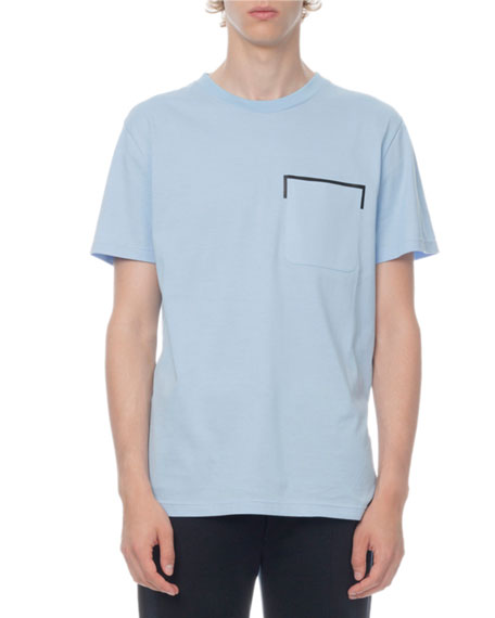 Berluti Men's Leather-Trim Jersey T-Shirt