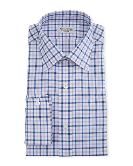 Charvet Men's Two-Tone Plaid Dress Shirt, Pink/Purple