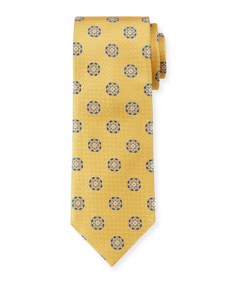 Image 1 of 1: Men's Circle Medallions Silk Tie, Yellow