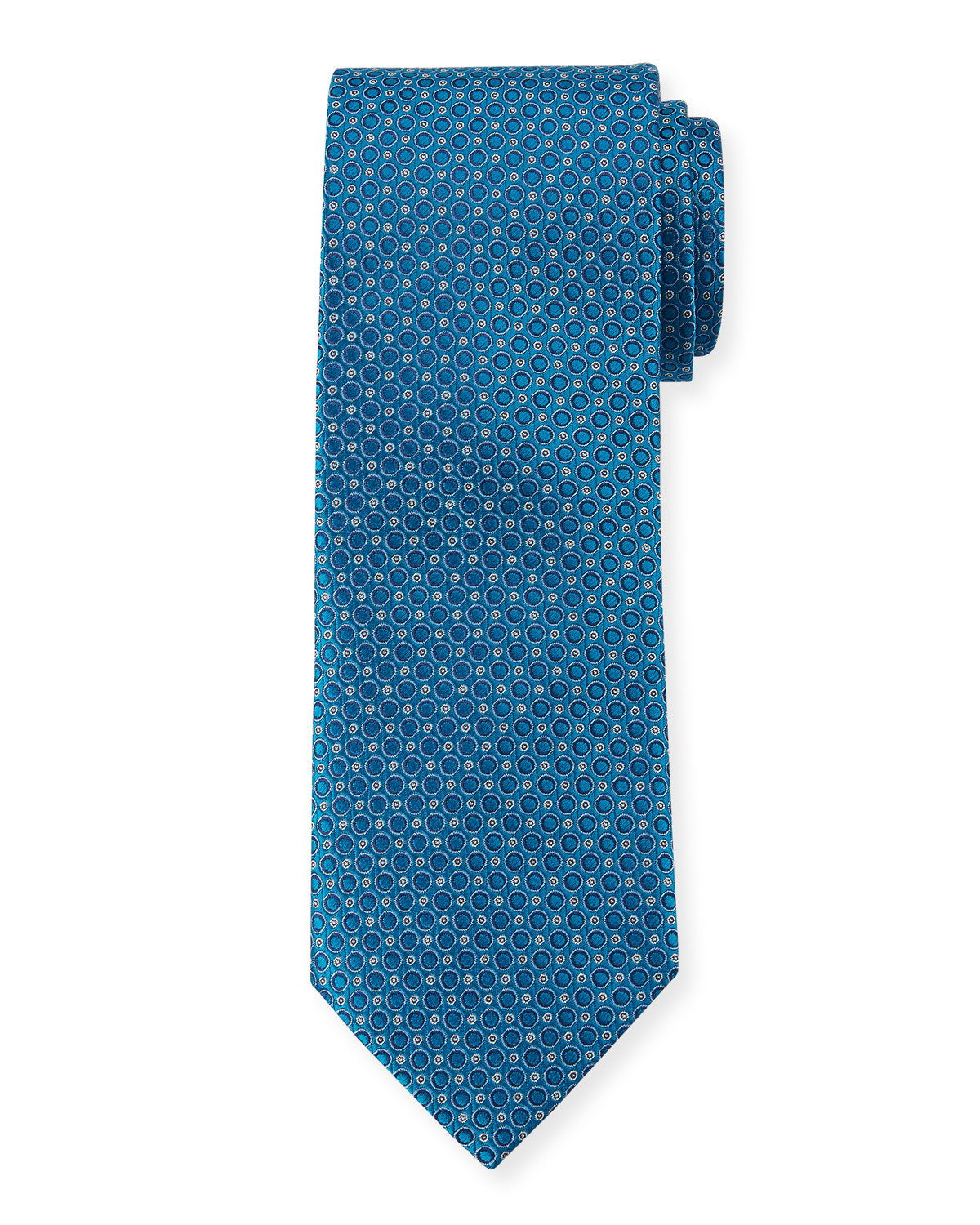 Canali Men's Woven Circles Tie, Blue