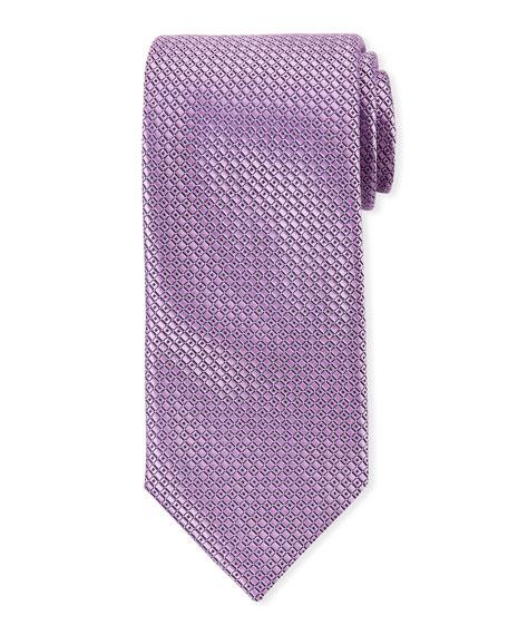 Canali Men's Satin Tonal Geometric Tie, Purple