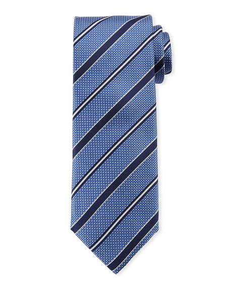 Canali Men's Textured Ground Stripe Tie, Blue