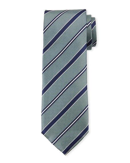 Canali Men's Textured Ground Stripe Tie, Green