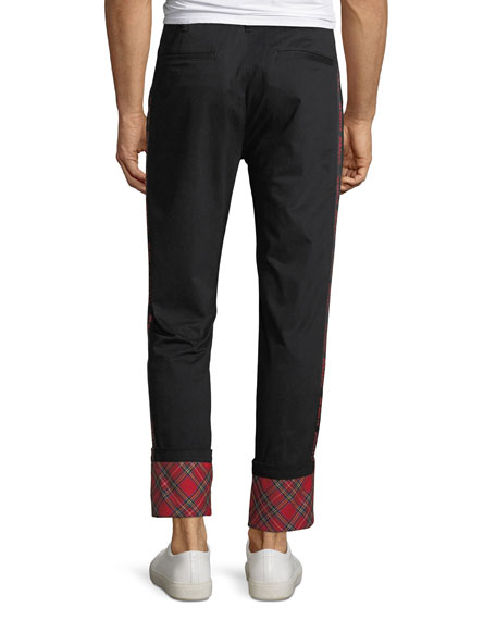 Ovadia & Sons Men's Panic Plaid-Cuff Twill Pants