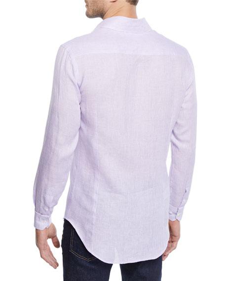 Giorgio Armani Men's Micro-Houndstooth Linen Sport Shirt, Light Purple