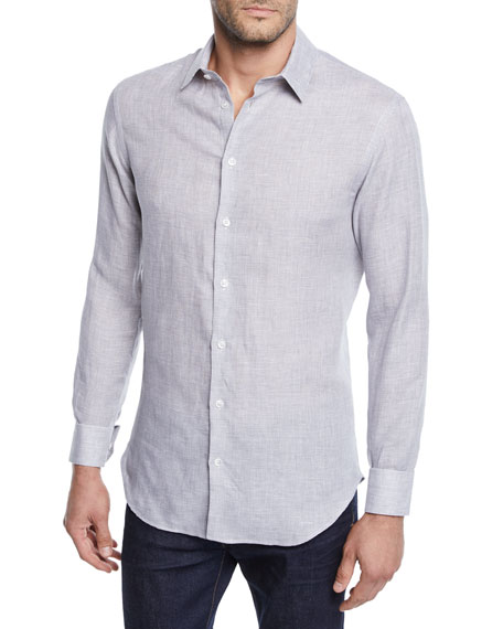 Giorgio Armani Men's Micro-Houndstooth Linen Sport Shirt, Light Gray