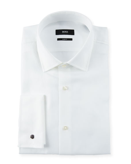 BOSS Men's Slim Fit Structured French-Cuff Dress Shirt