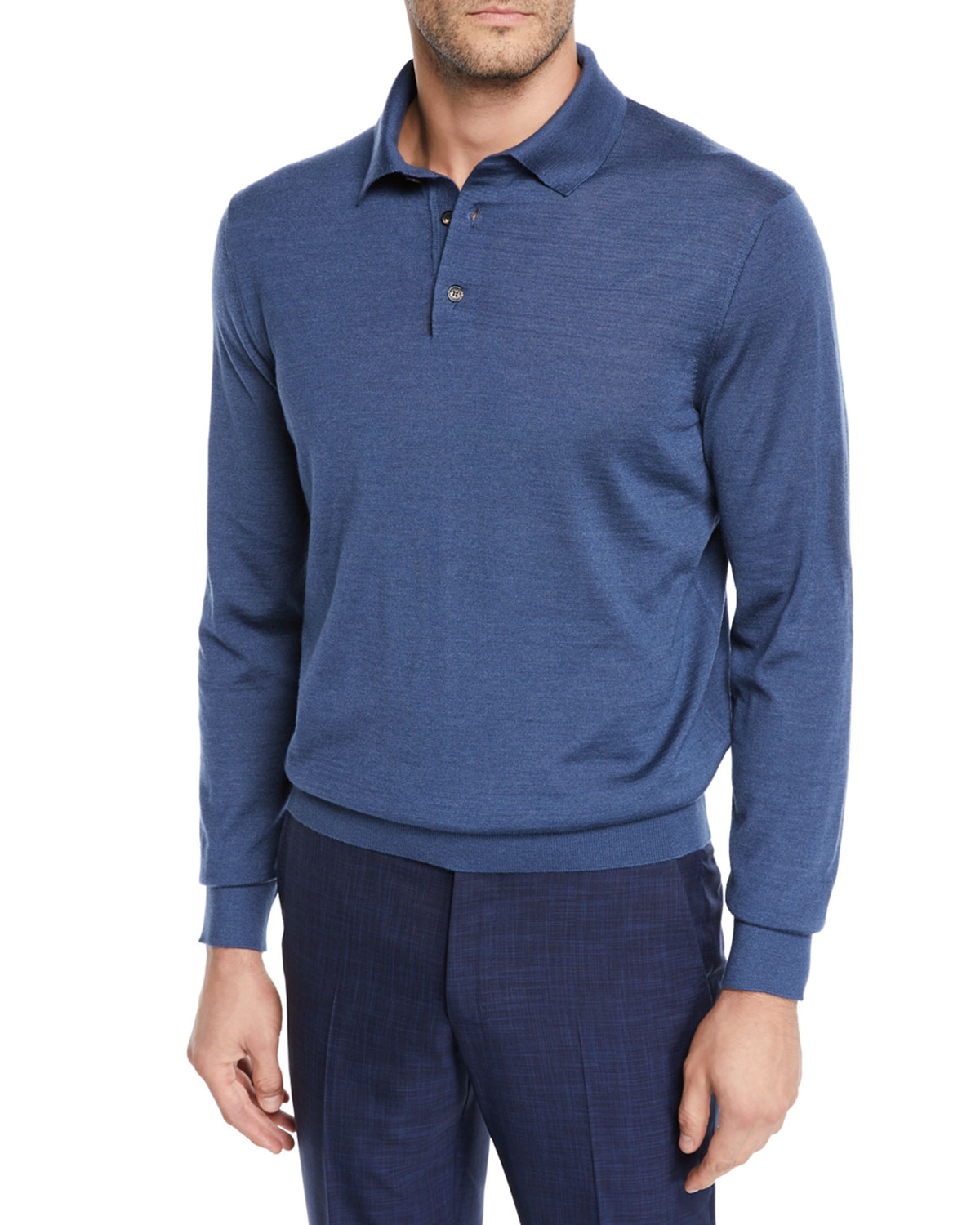 fdc389846d Men's Cashmere/Silk Long-Sleeve Polo Sweater