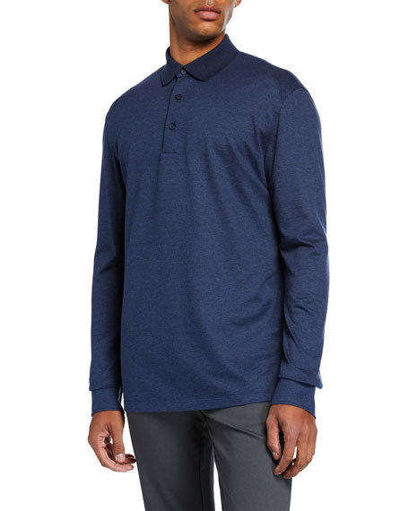 Ermenegildo Zegna Men's Textured Long-Sleeve Polo Shirt