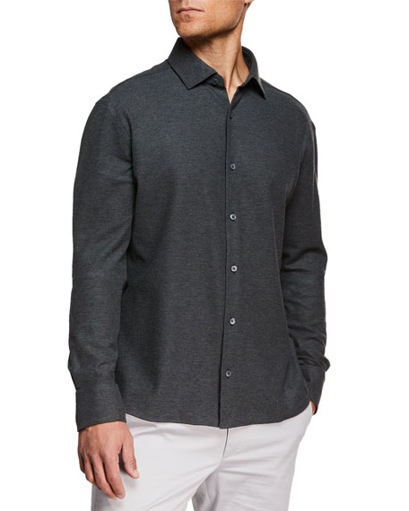 Ermenegildo Zegna Men's Heathered Knit Sport Shirt