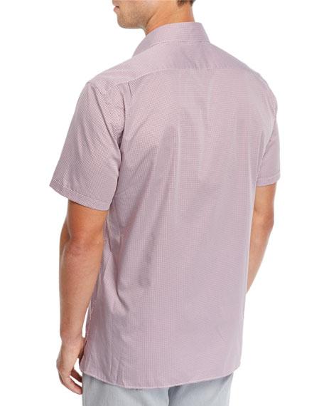 Ermenegildo Zegna Men's Grid-Pattern Short-Sleeve Sport Shirt