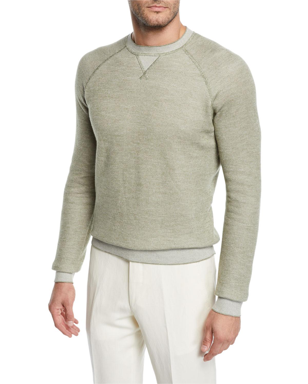 6961b0644c3b Ermenegildo ZegnaMen s Cotton Cashmere-Blend Raglan Crewneck Sweater