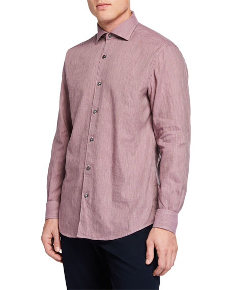 Ermenegildo Zegna Men's Long-Sleeve Linen Blend Houndstooth Sport Shirt