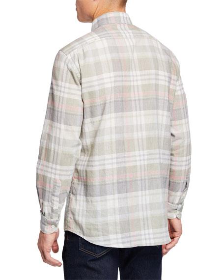 Ermenegildo Zegna Men's Long-Sleeve Plaid Sport Shirt