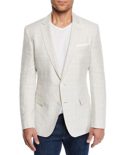Men's Linen/Wool Windowpane Sport Coat
