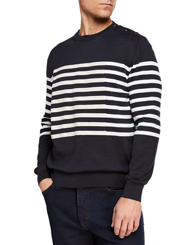Men's Striped Crewneck Sweatshirt with Buttons