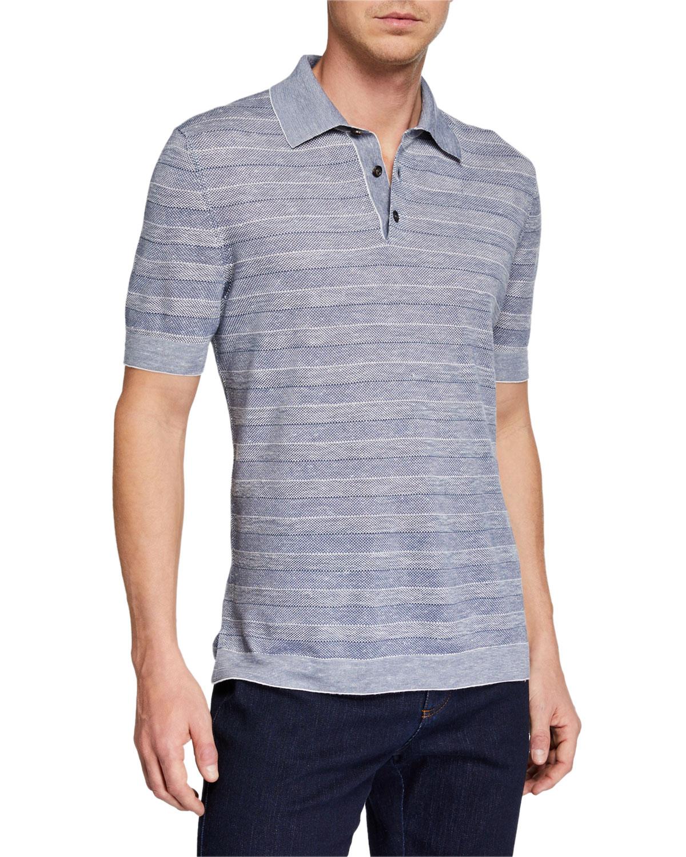4b2e76f97c Ermenegildo Zegna Men's Striped Polo Shirt, Medium Blue | Neiman Marcus