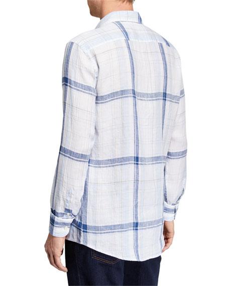 Ermenegildo Zegna Men's Plaid Linen Sport Shirt