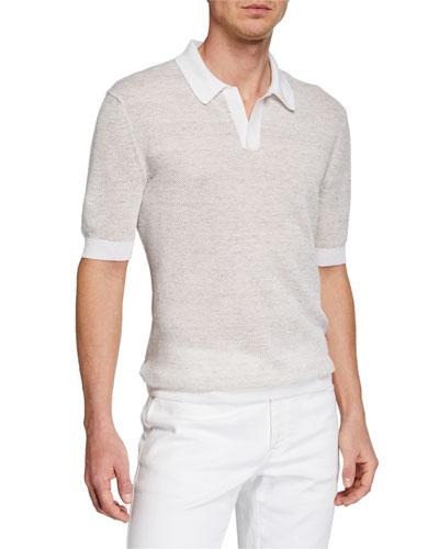 Men's Textured-Knit Polo Shirt