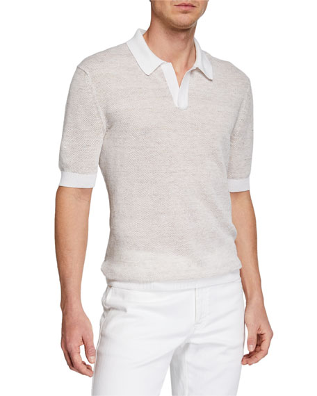 Ermenegildo Zegna Men's Textured-Knit Polo Shirt