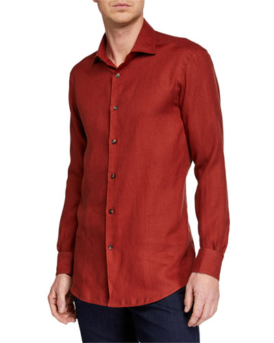 Men's Solid Linen Sport Shirt  Red