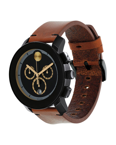 Movado Bold Men's Bold TR-90 Chronograph Watch With Leather Strap