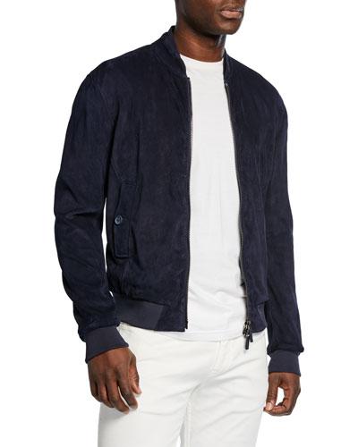 Men's Suede Bomber Jacket