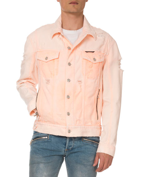 Balmain Men's Distressed Neon Denim Jacket