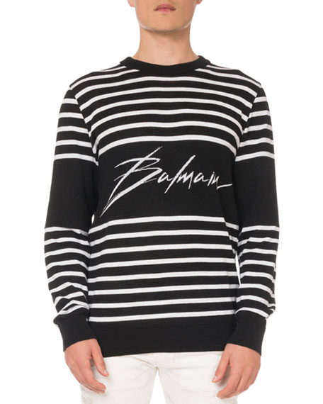 Balmain Men's Striped Cotton Sweatshirt